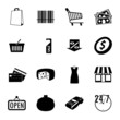 Market black and white flat icons set