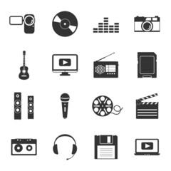Multimedia black and white flat icons set