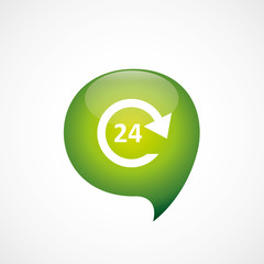 24 hours service icon green think bubble symbol logo.