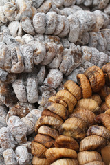 Background of sun-dried and dried figs