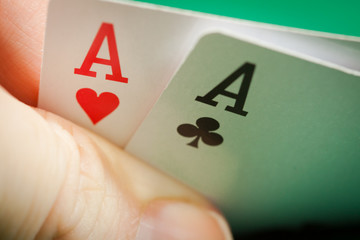 Two aces in a hand playing poker