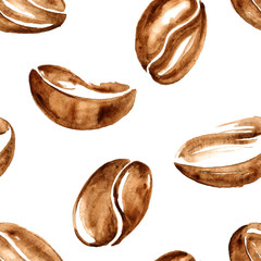 Watercolor coffee beans seamless pattern