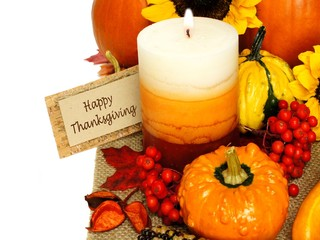 Autumn border with Happy Thanksgiving tag, decor and pumpkins