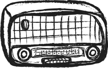 doodle old wooden radio