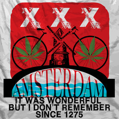 Amsterdam Poster Man T shirt Graphic Design