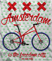 Amsterdam City Bike T shirt Graphic Design