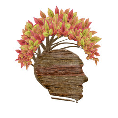 isolated wood human head and leaves