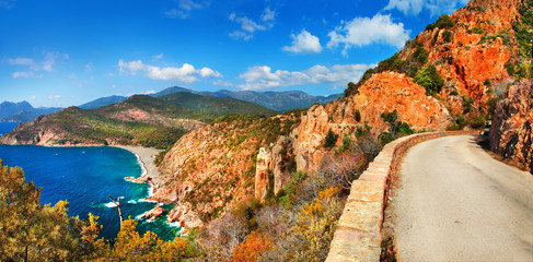 impressive landscapes of Corsica - red rocks Calanques and sea