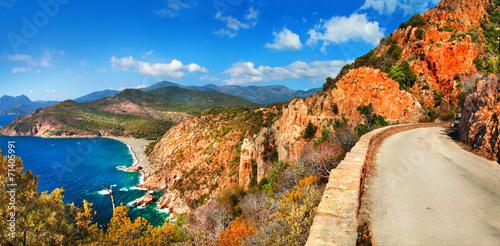 impressive landscapes of Corsica - red rocks Calanques and sea