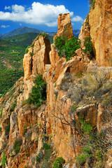 impressive red rocks Calanques in Corsica