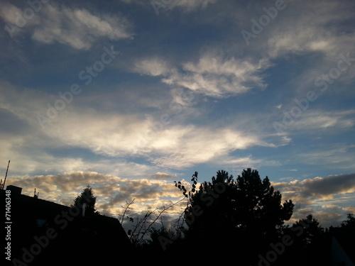 canvas print picture Himmel mit Wolken am Abend