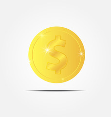 gold coin icon vector illustration