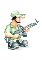 Soldier with automate gun