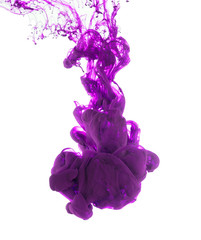 Purple ink isolated on white background