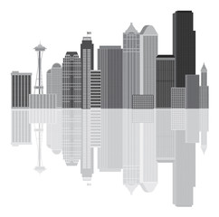 Seattle City Skyline Grayscale Vector Illustration