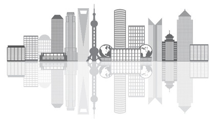 Shanghai City Skyline Grayscale Outline Vector Illustration