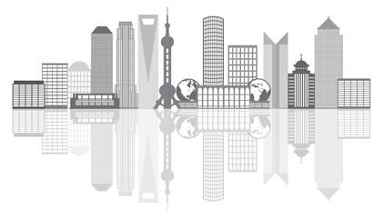 Shanghai City Skyline Grayscale Outline Vector Illustration