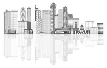 Singapore City Skyline Grayscale Vector Illustration