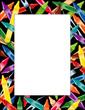 Crayons Frame, multicolor black border, poster copy space