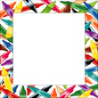 Crayons Frame, multicolor square white border, poster copy space