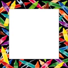 Crayons Frame, multicolor square black border, poster copy space