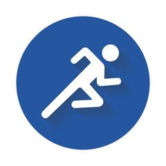 Running man icon white silhouetteŒ
