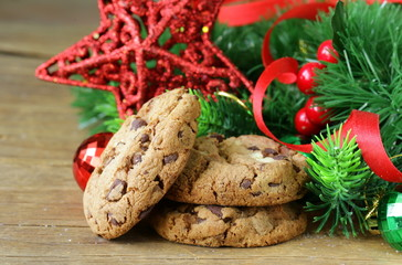 cookies with chocolate with Christmas tree