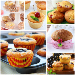 Set different homemade pastries muffins with berries