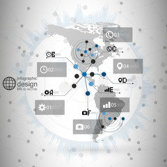 North and South America map vector, infographic design
