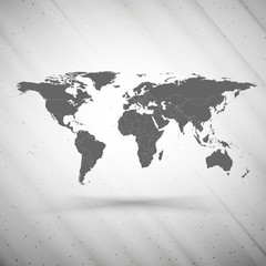 world map on gray background, grunge texture vector illustration