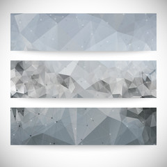Set of abstract backgrounds, molecule structure, triangle design