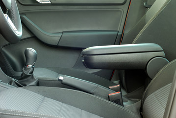 armrest of the car and handbrake