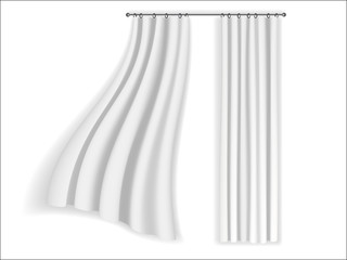 white curtains fluttering on a white background