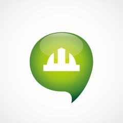 construction helmet icon green think bubble symbol logo.