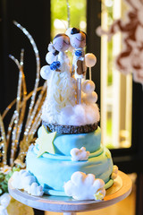 Wedding cake with wood doll