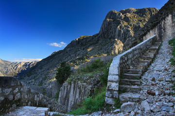 Stone staircase which leads upward the fortress in Kotor.
