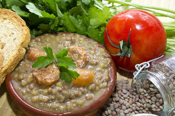 tasty lentils with parsley