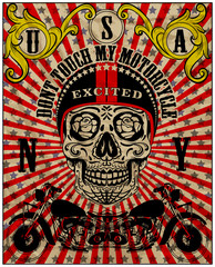 Skull Motorcycle Graphic Vector Design