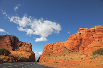 Magnificent  road among red rocks