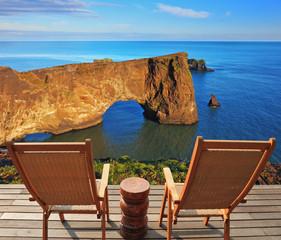 On coastal rock delivered loungers