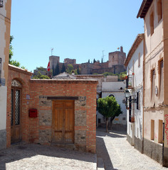 Street in Granada, Alhambra views, arab quarter Albayzín