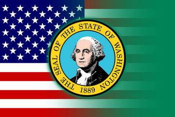 USA and Washington State Flag