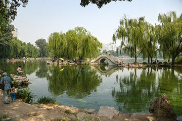 Beijing. Scenic view of the pond with artificial island