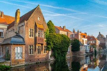 Houses along canal in Bruges, Belgium