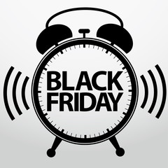 Black friday alarm clock icon, vector illustration