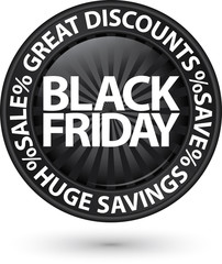 Black friday huge discounts icon, vector illustration