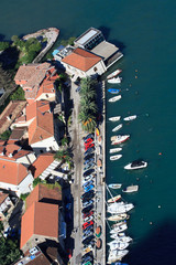 Embankment in the town of Kotor with bird's-eye view