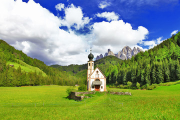 Alpine scenery - Dolomites, Val di funes, view with church