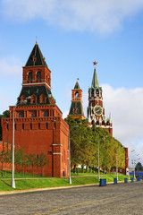 Three towers of Moscow Kremlin and Red Square