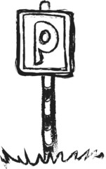 doodle parking sign